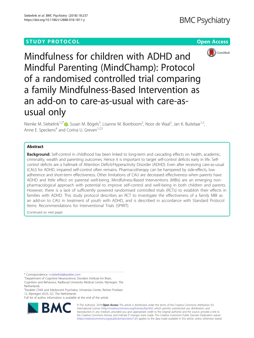 Systematic Review Of Meditation-Based Interventions For Children with Calendar Of Appraisal For Adhd Child
