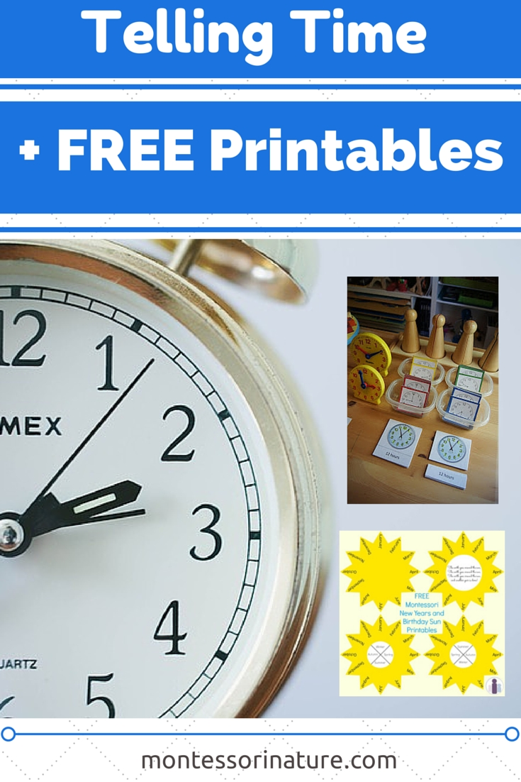 Telling Time With Free Printables. Resources For The Montessori with regard to Birthday Calendar Montessori For Print