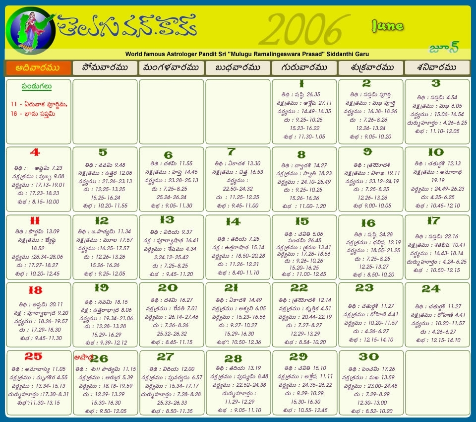 Telugu Calendar 2012 | Telugu Calendar 2011 | Telugu Calendar 2010 for Hindu Calendar 2009 With Tithi