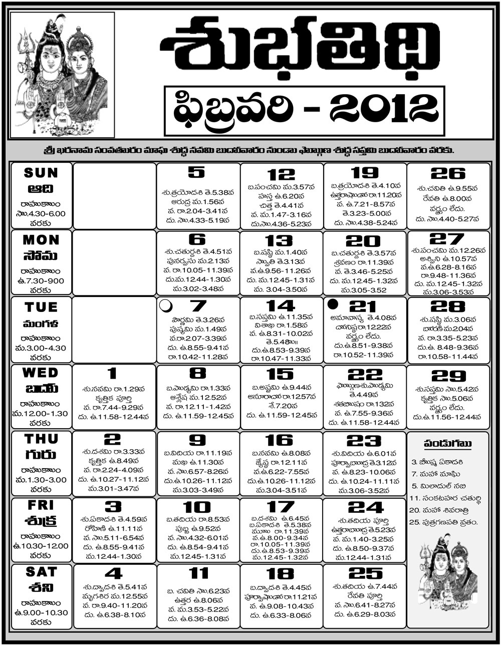 Telugu Calendar 2012 | Telugu Calendar 2011 | Telugu Calendar 2010 in Hindu Calendar With Tithi 2012 March