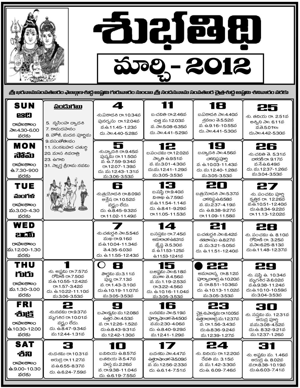Telugu Calendar 2012 | Telugu Calendar 2011 | Telugu Calendar 2010 intended for Hindu Calendar With Tithi 2012 March