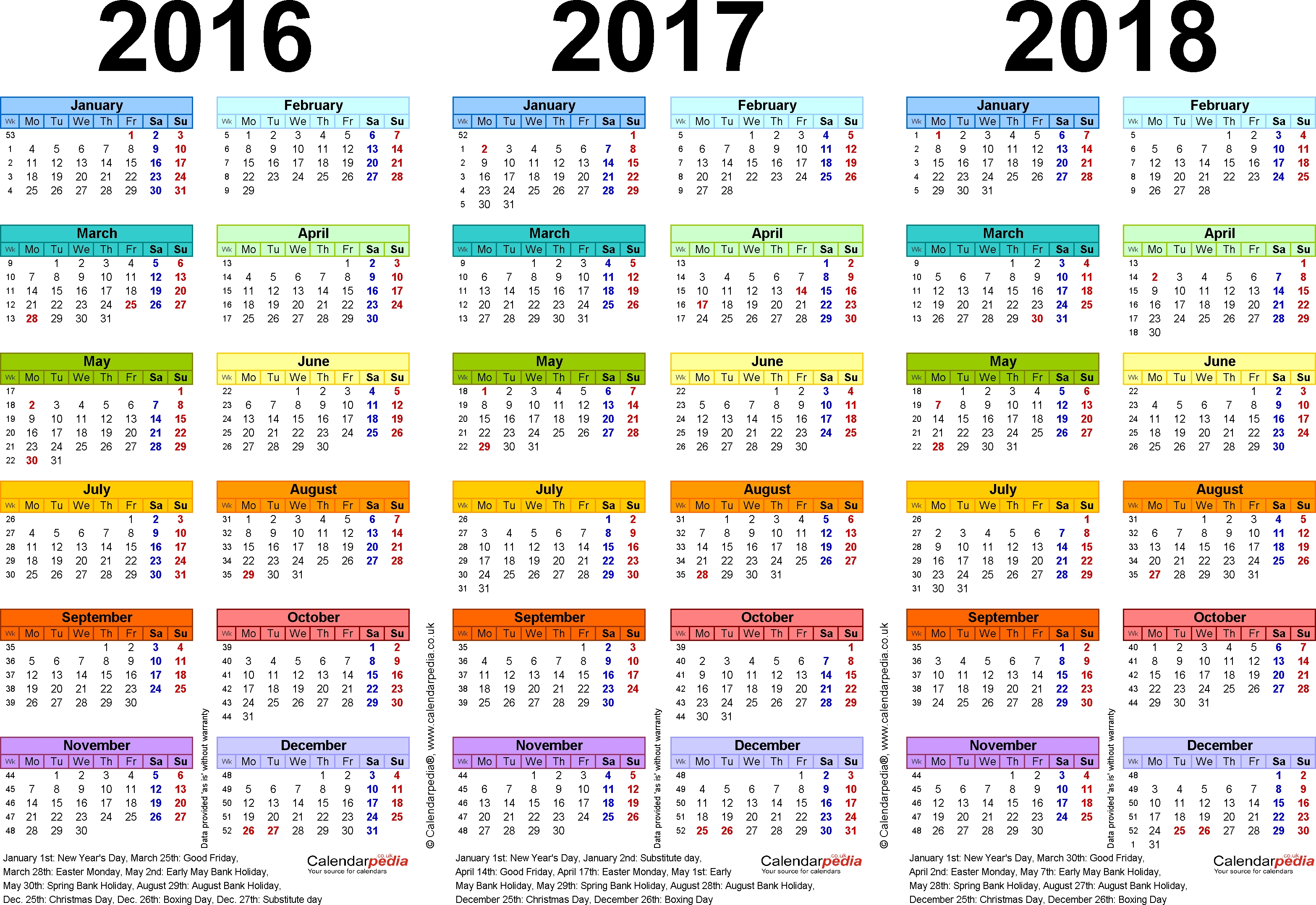 Template 1: Pdf Template For Three Year Calendar 2016/2017/2018 In with Three Year Calendar Printable Free