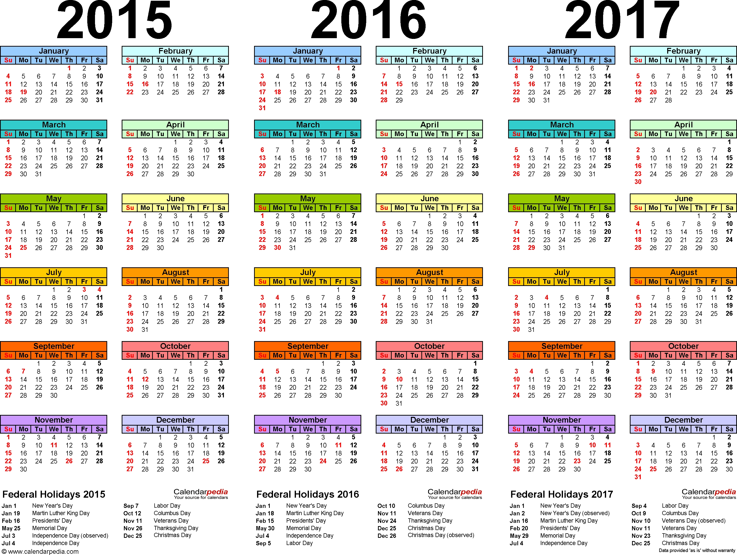 Template 1: Word Template For Three Year Calendar 2015/2016/2017 in Three Year Calendar Printable Free