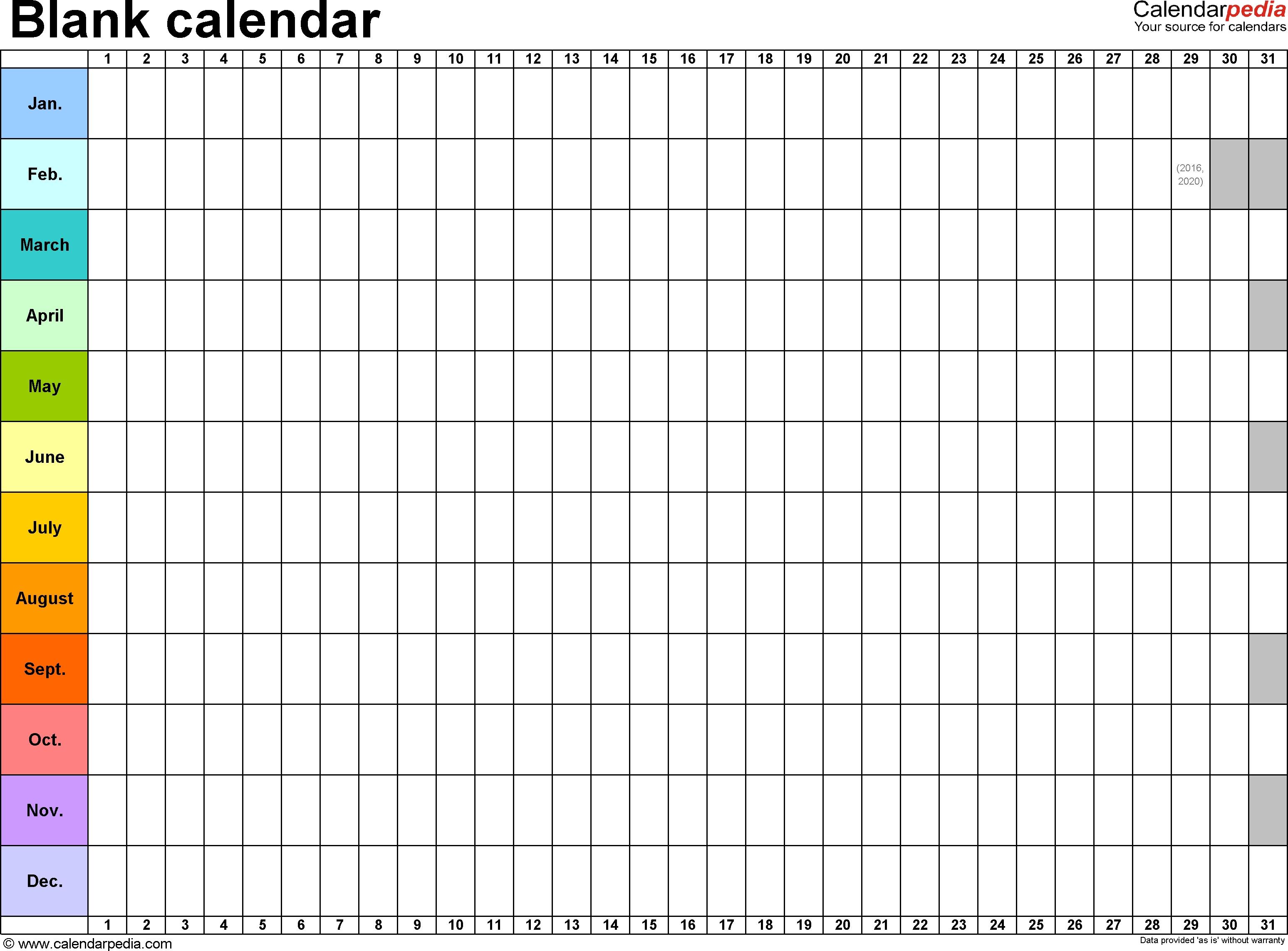 Template 2: Excel Template For Blank Calendar (Landscape Orientation intended for Annual Calendar Planner Excel Spreadsheet