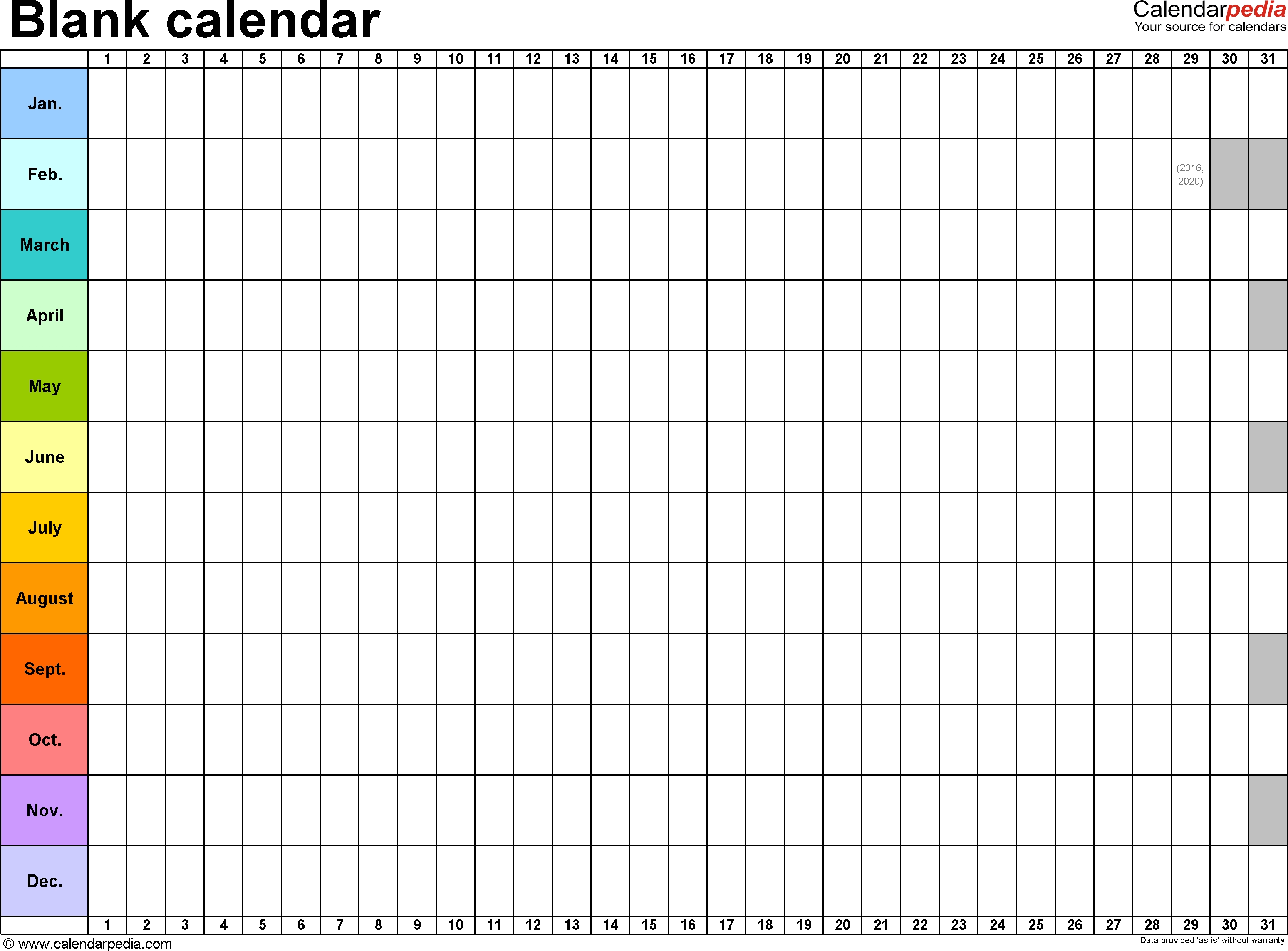 Template 2: Excel Template For Blank Calendar (Landscape Orientation regarding Blank Excel Spreadsheet With Calendar