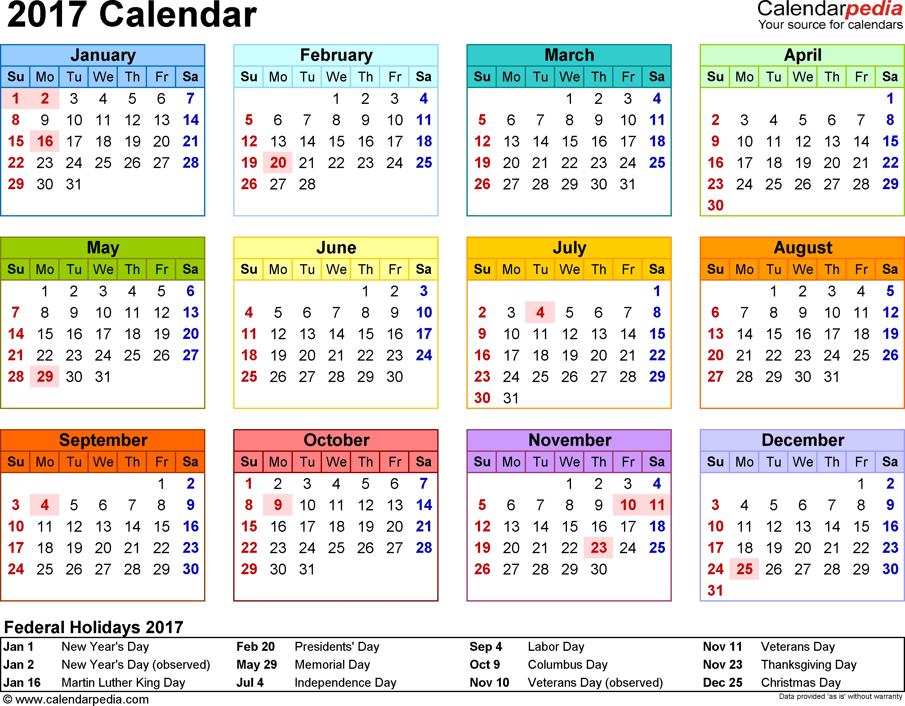 Template 8: 2017 Calendar For Word, Year At A Glance, 1 Page, In throughout Calendar Year At A Glance