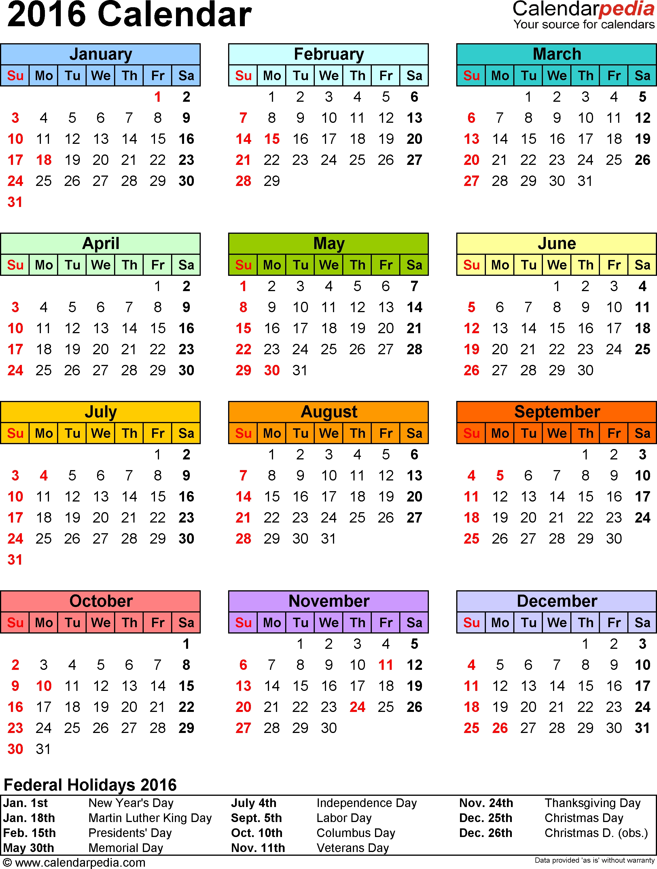 Template 9: 2016 Calendar For Excel, Year At A Glance, 1 Page, In pertaining to 1 Page Year Long Calendar Printable Free