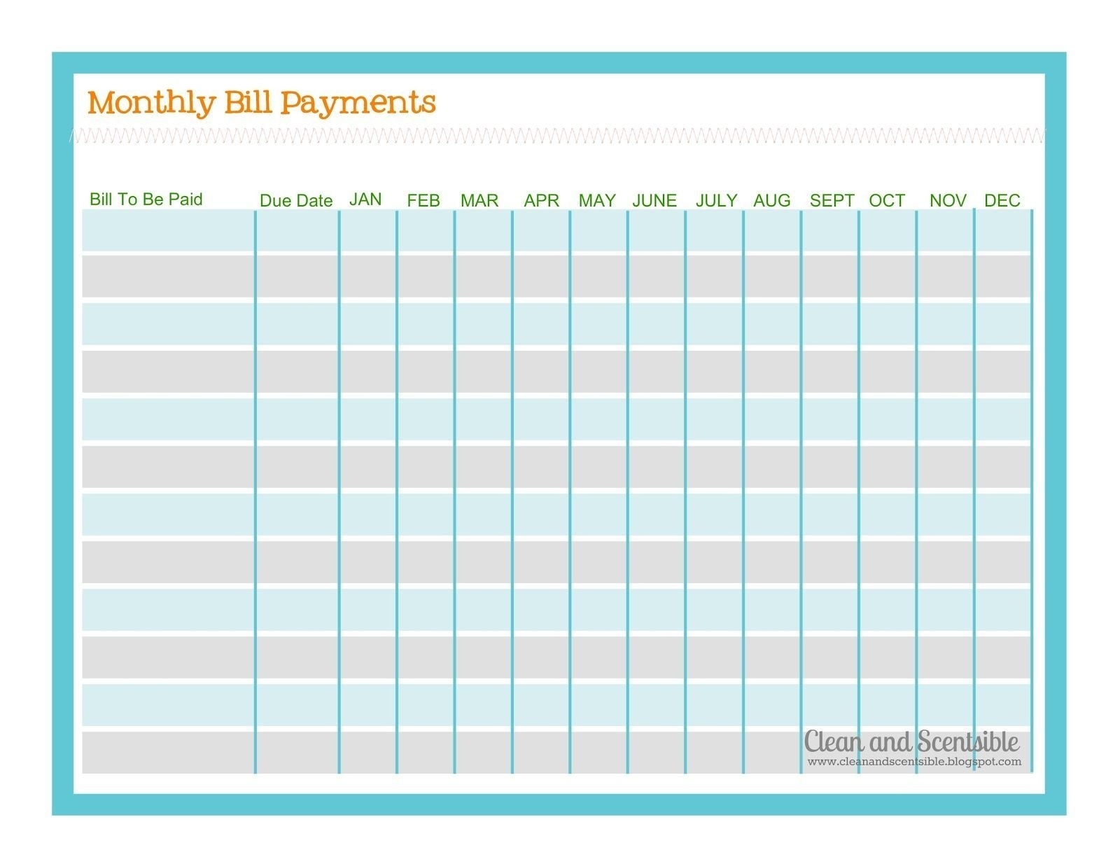 Template For Monthly Bills. Results For Template For Paying Monthly with Bill Due Date Calendar Printable
