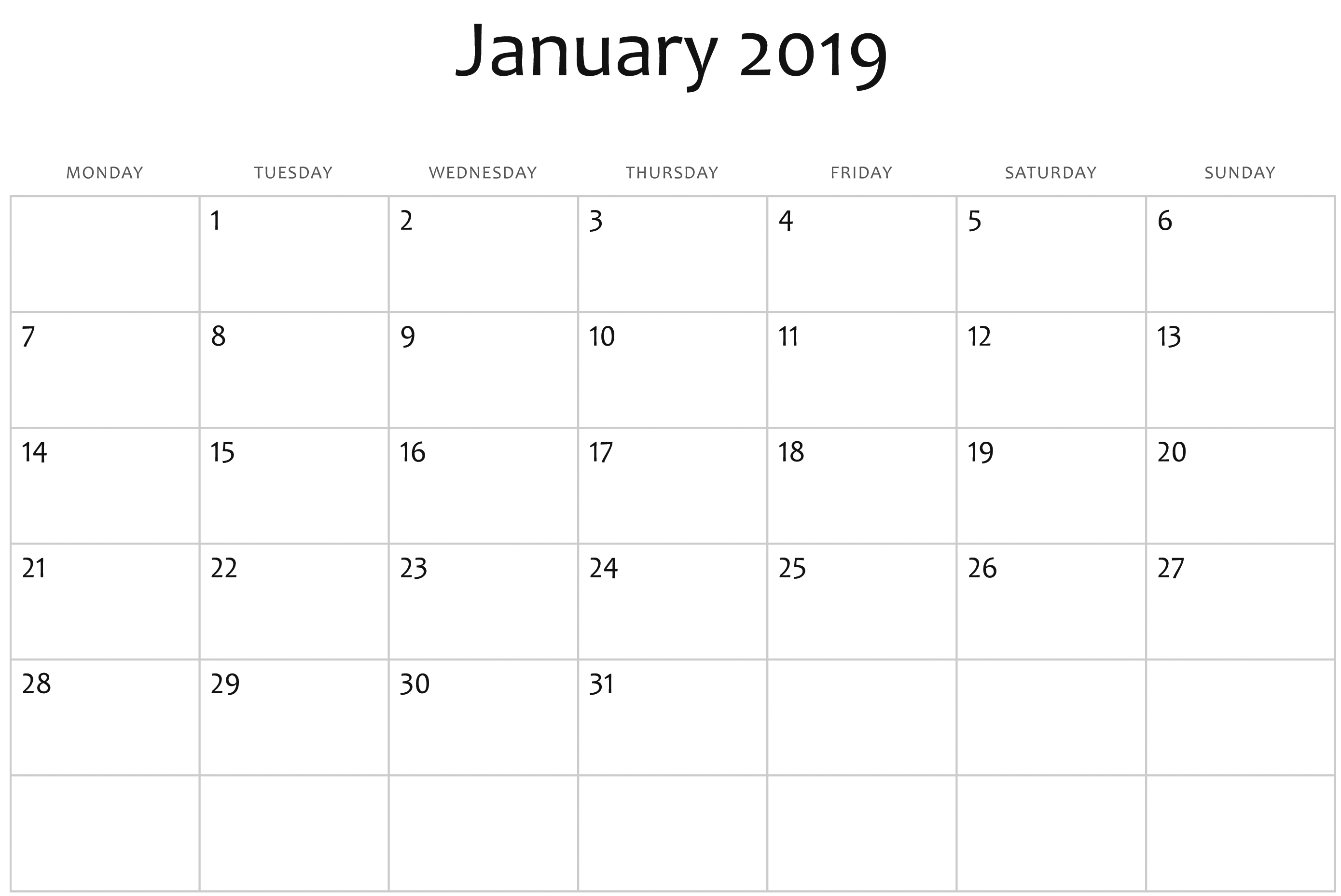 Template Of January 2019 Calendar - Free Printable Calendar with regard to Free Printable Blank Calendar Templates