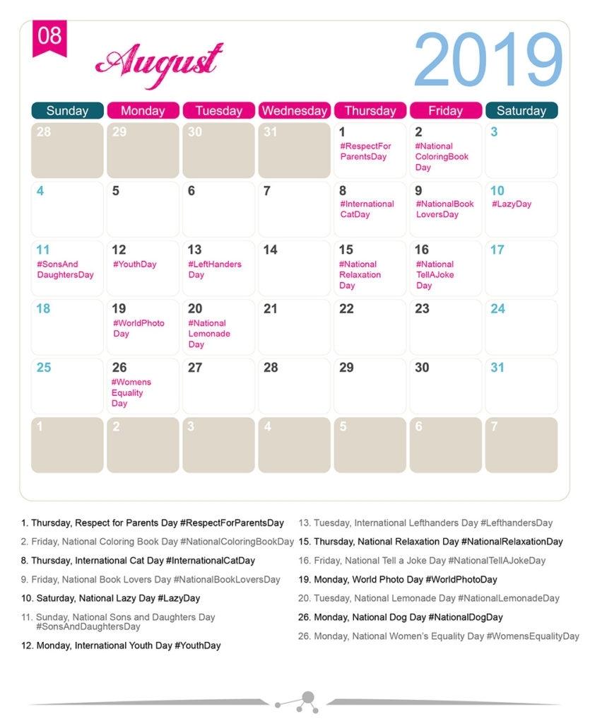 The 2019 Social Media Holiday Calendar - Make A Website Hub intended for August National Food Day Calendar