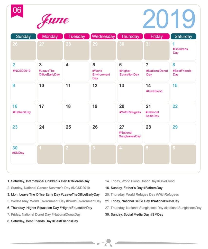 The 2019 Social Media Holiday Calendar - Make A Website Hub intended for Calendar Of National Theme Days