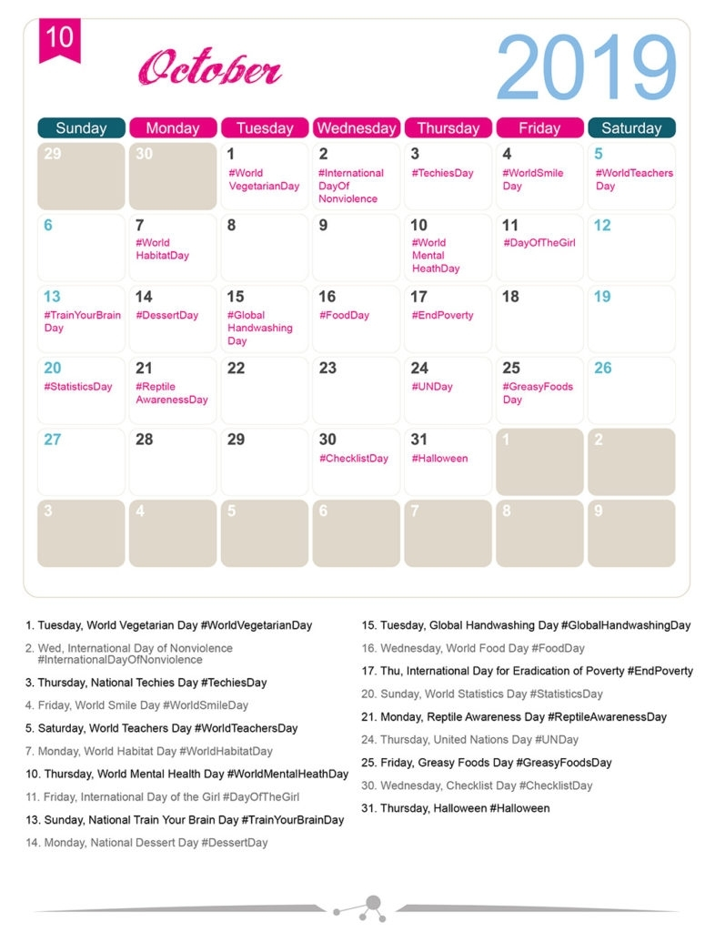 The 2019 Social Media Holiday Calendar - Make A Website Hub throughout National Days Of The Year Calendar