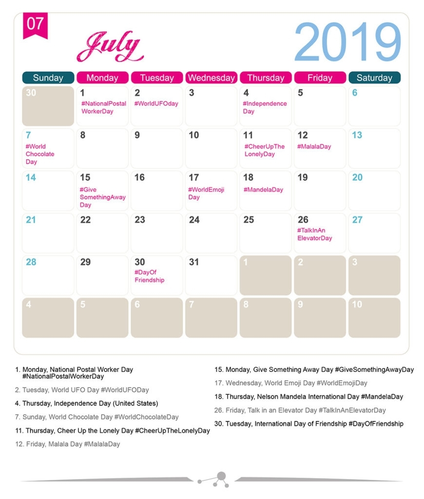 The 2019 Social Media Holiday Calendar - Make A Website Hub with regard to Month Of July National Days