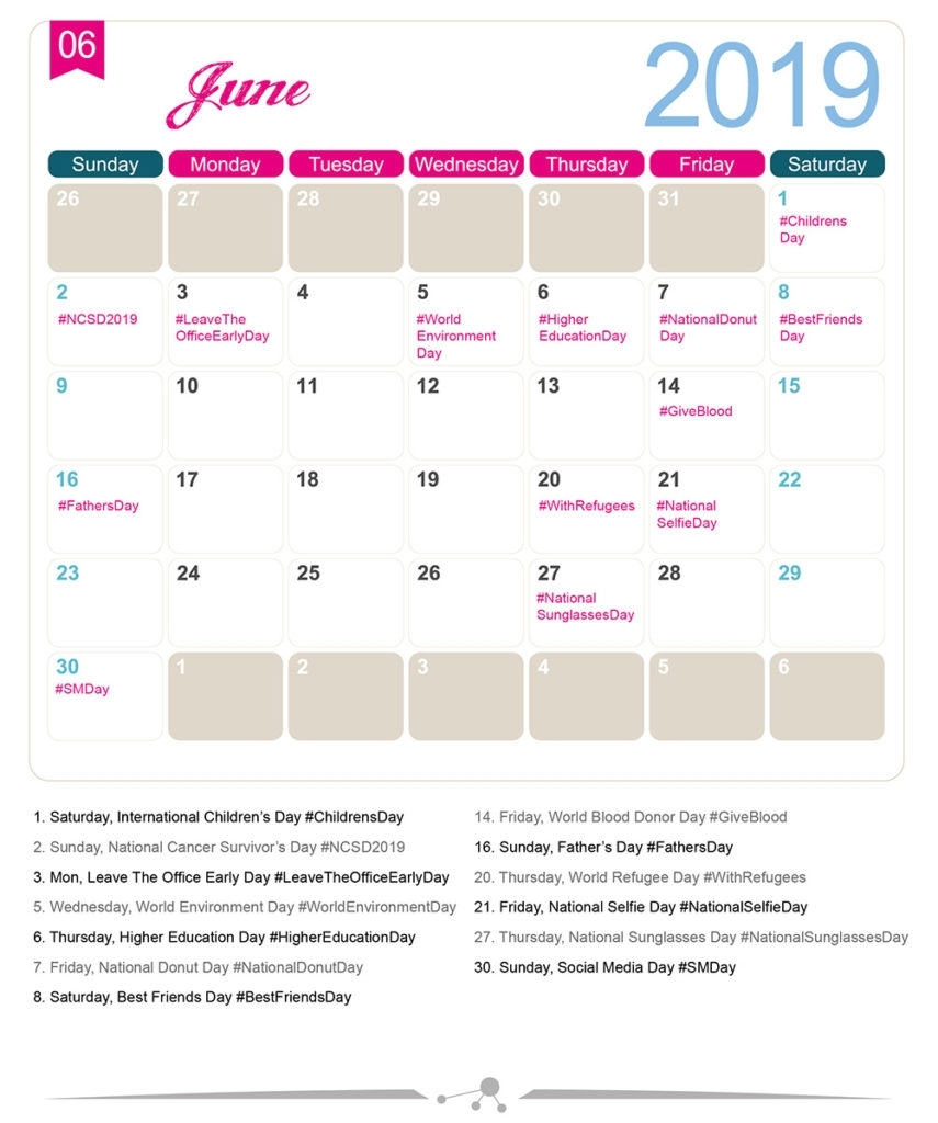 The 2019 Social Media Holiday Calendar - Make A Website Hub with regard to National Days Of The Year Calendar