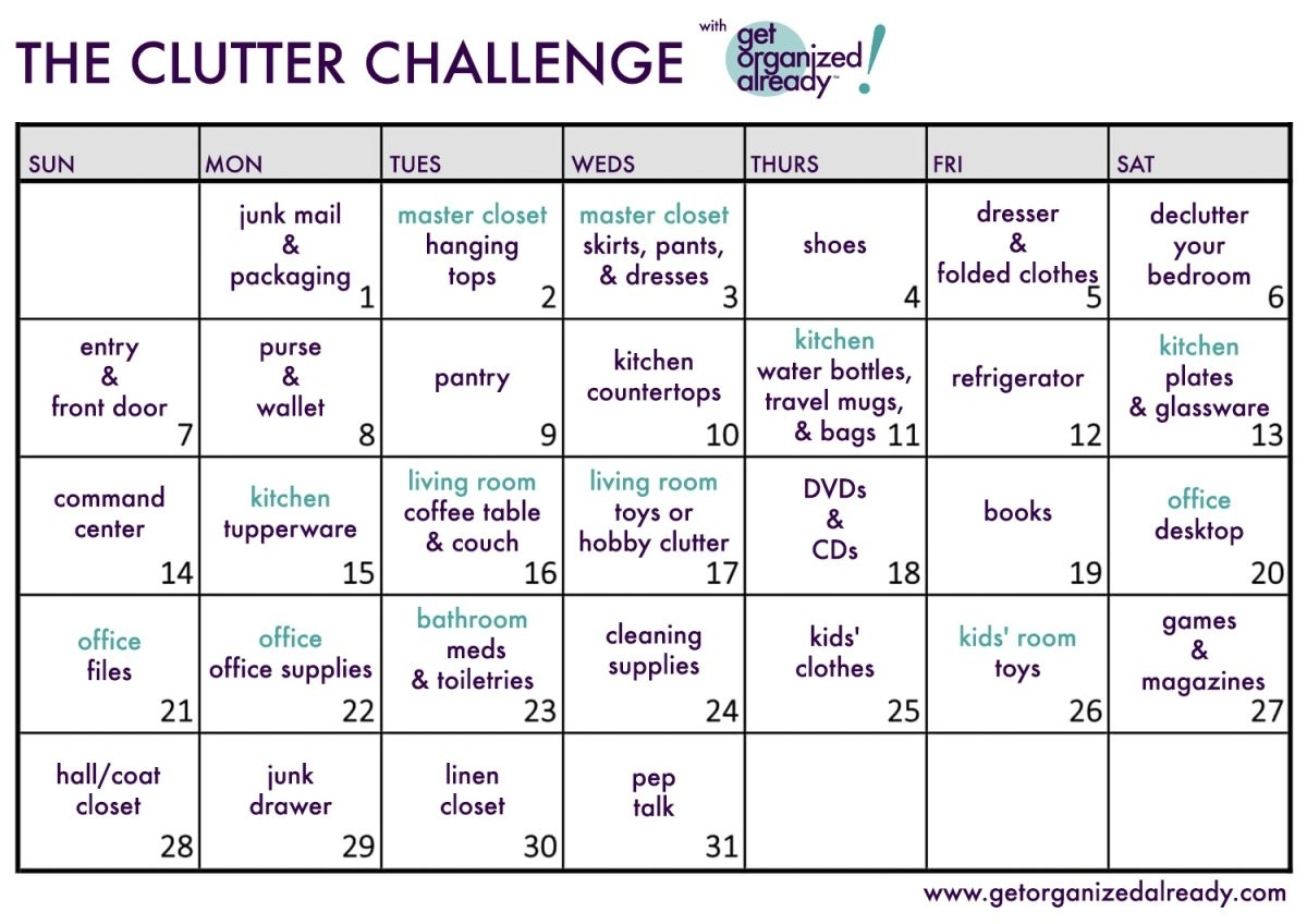 The Clutter Challenge 2019 with 30 Day Declutter Challenge Calendar