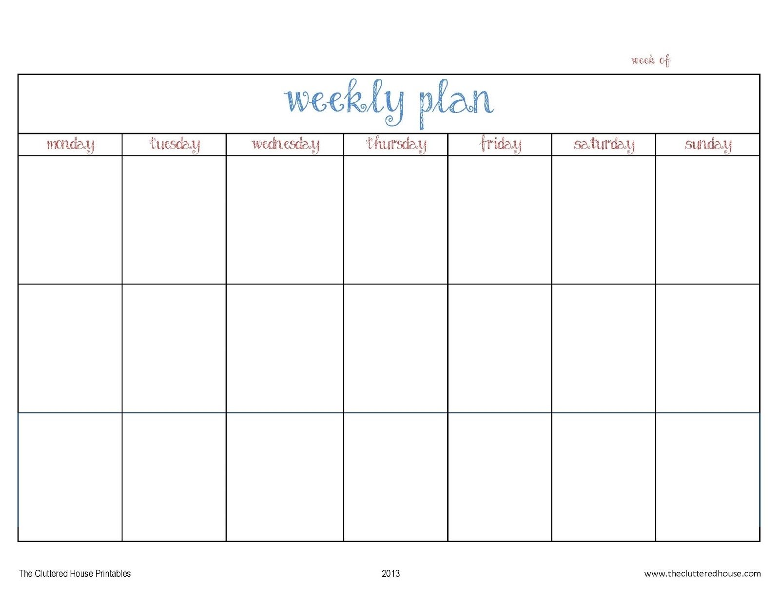 The Cluttered House: Weekly Planner Printable for Monday To Friday Planner Template