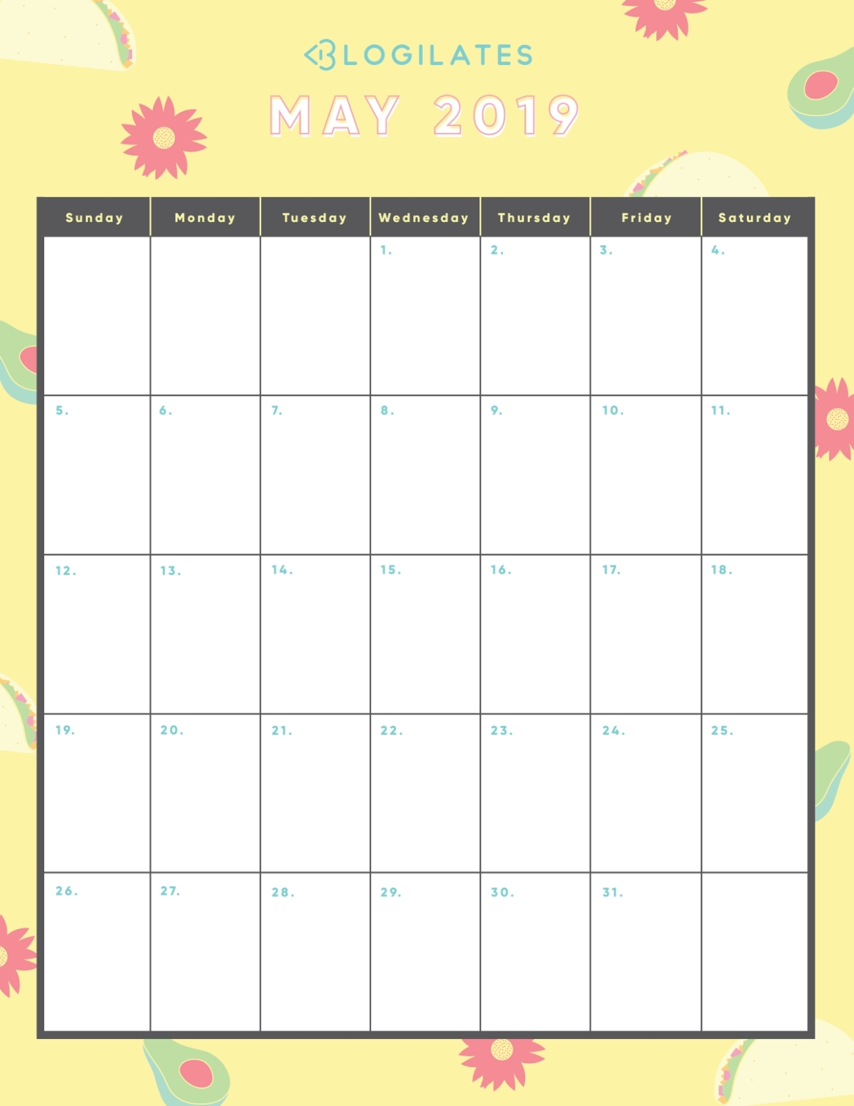 The Legit Cutest 2019 Printable Calendars! – Blogilates throughout Printable Fill In Lifting Scedual