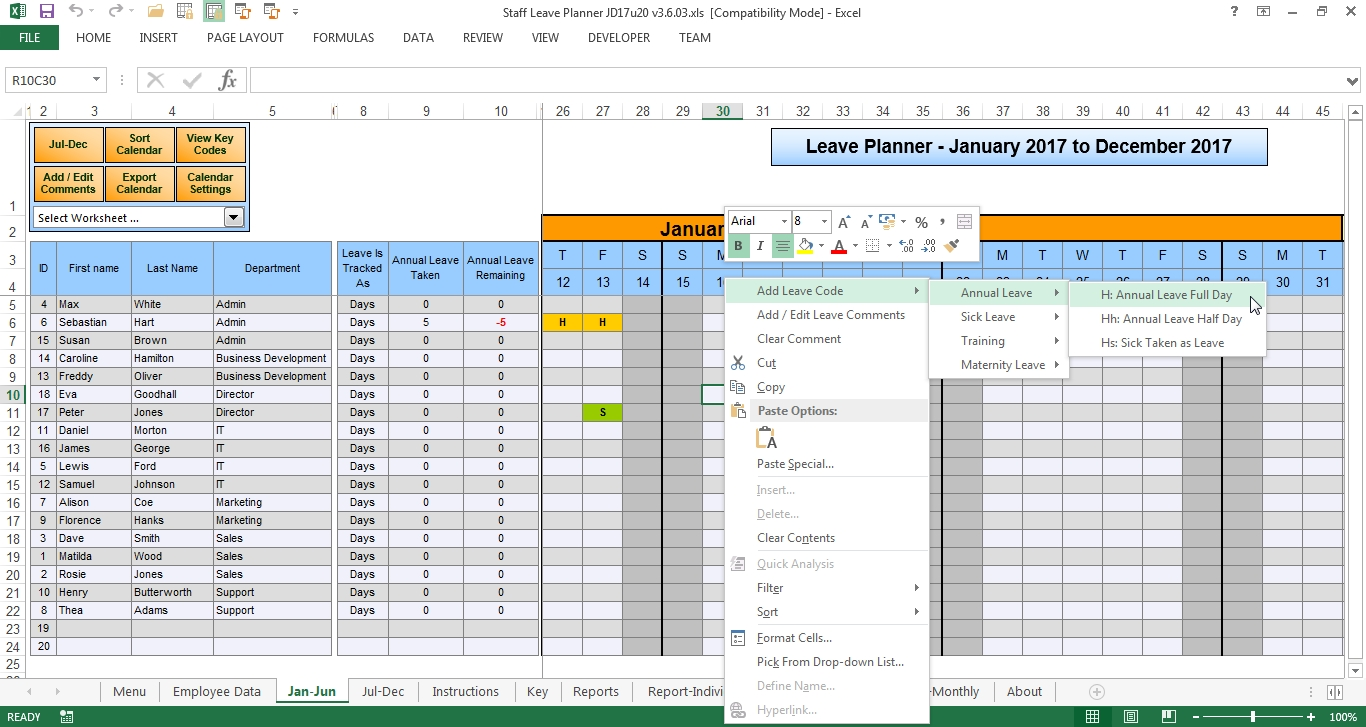 The Staff Leave Calendar. A Simple Excel Planner To Manage Staff throughout Downloadable Employee Vacation Calendar 2015