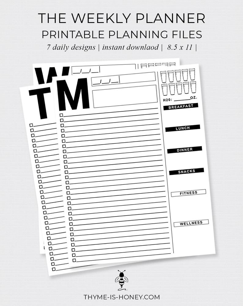 The Weekly Planner Digital Files | Etsy for 7 Days A Week Planner