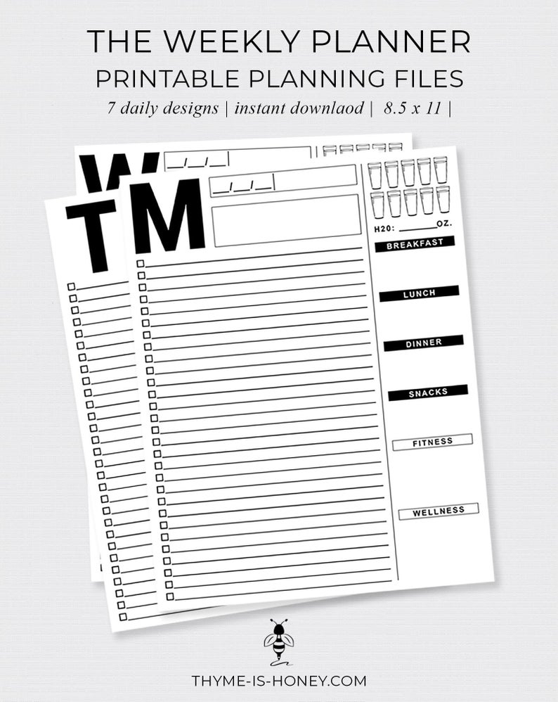 The Weekly Planner Digital Files   Etsy pertaining to 8 Days A Week Planner