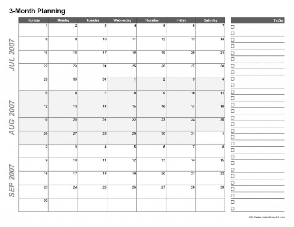 Three Month Calendar Template - Free Calendar Collection throughout Free Printable Three Month Calendar