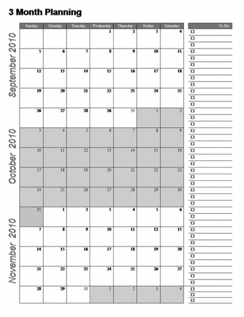 Three Month Calendar Template Great Printable Calendars Gallery intended for 3 Month Printable Calendar Template
