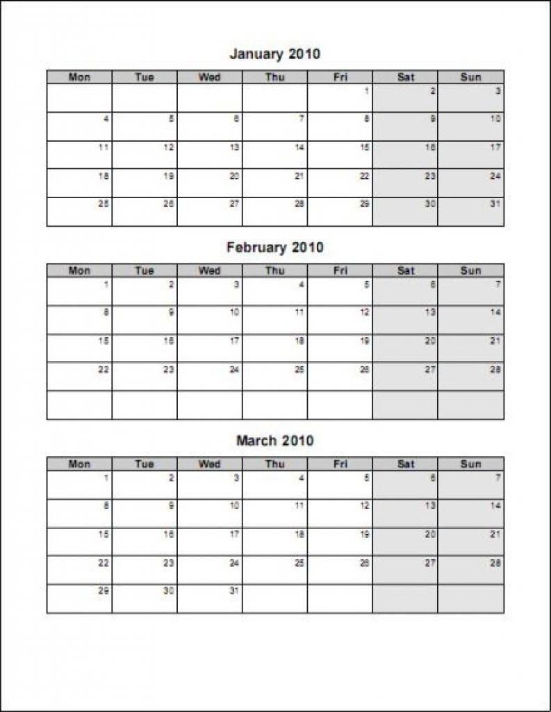 Three Month Single Page Calendar | Template Calendar Printable for Three Month Single Page Calendar