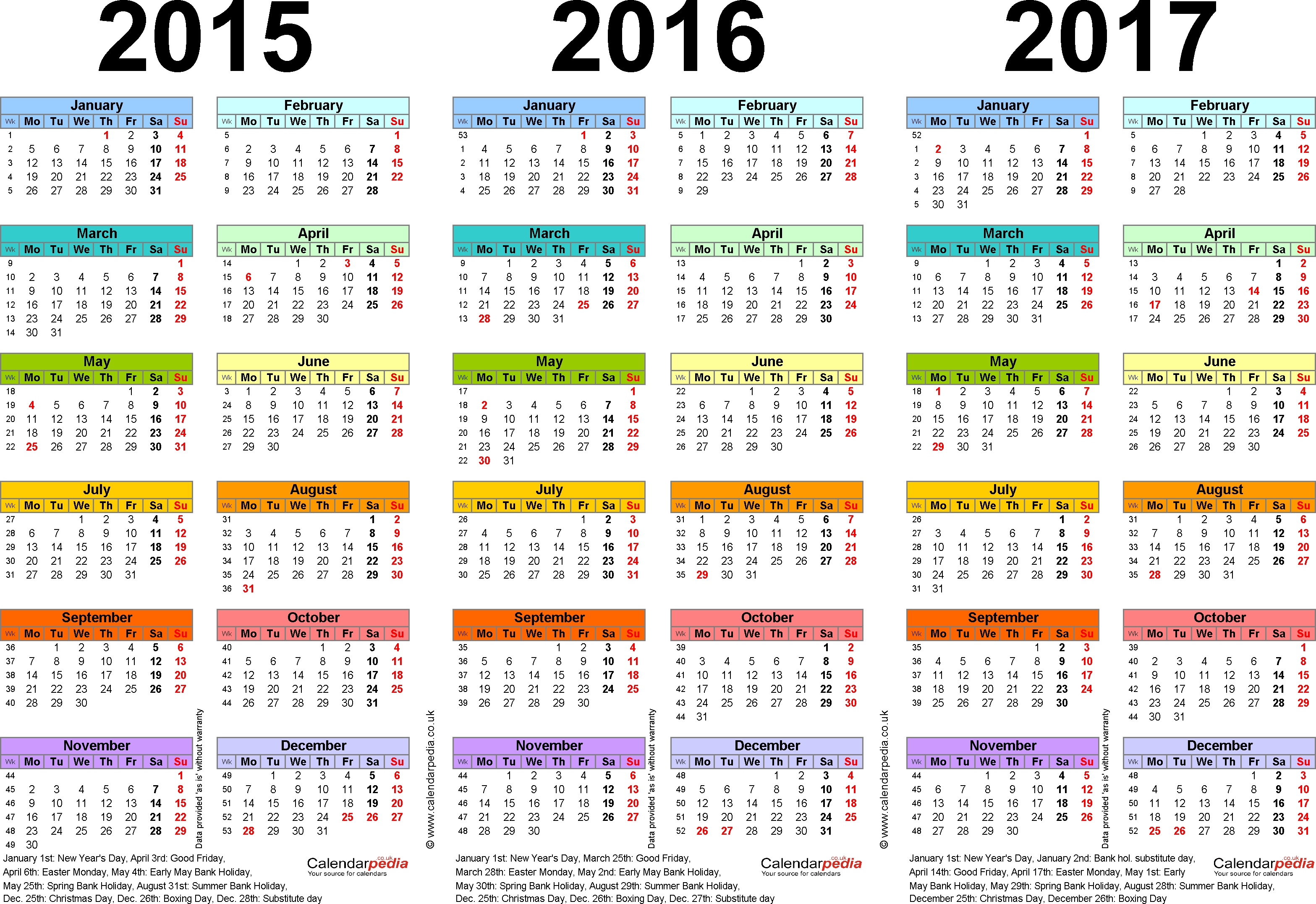Three Year Calendars For 2015, 2016 & 2017 (Uk) For Word throughout Islamic Calendar 2015 Pdf Free Download