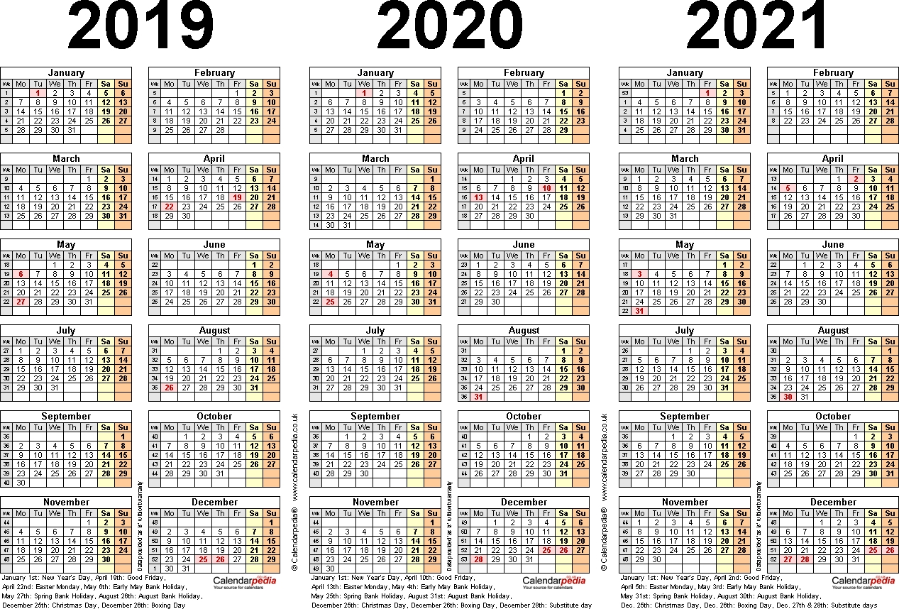 Three Year Calendars For 2019, 2020 & 2021 (Uk) For Pdf pertaining to Three Year Calendar Printable Free