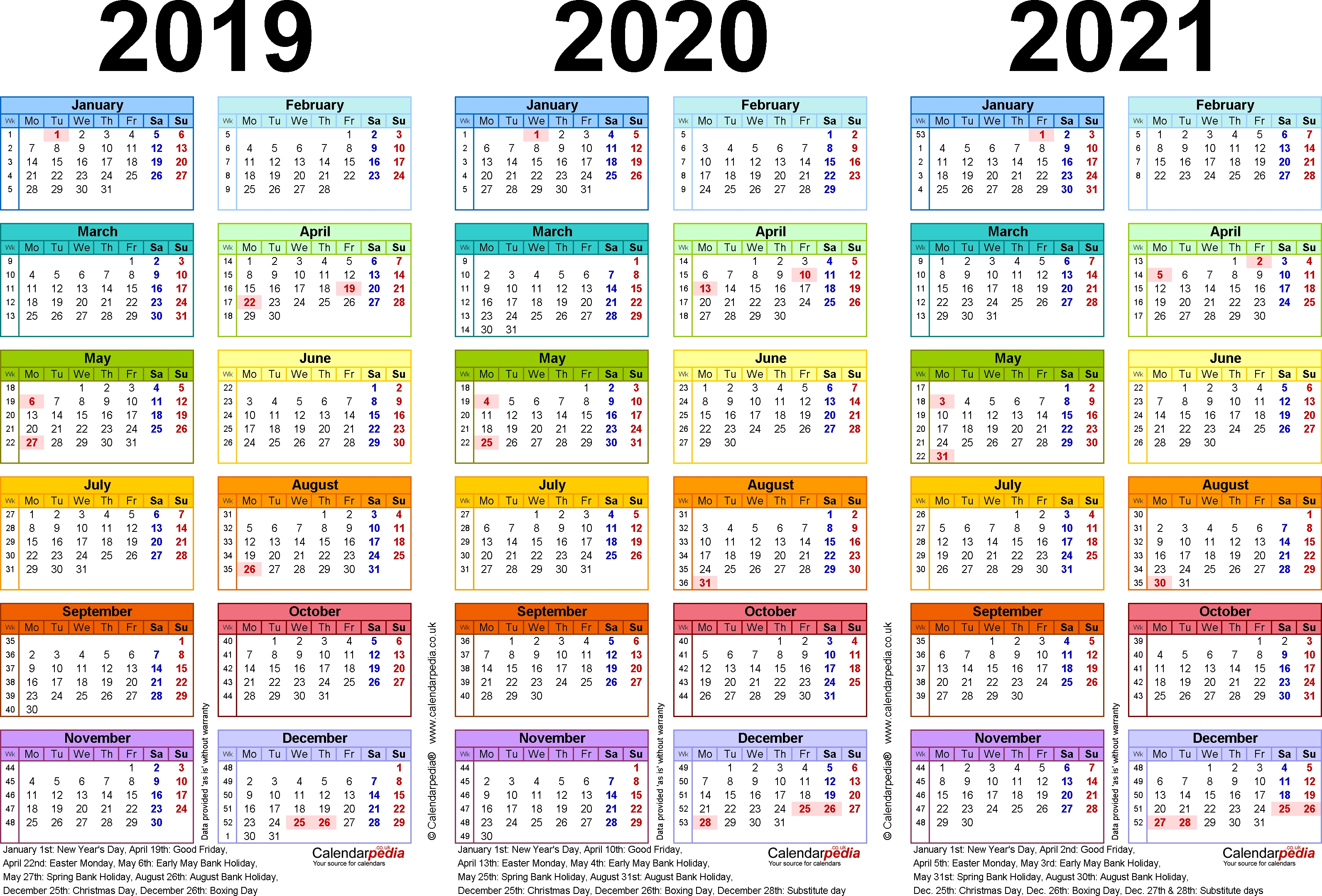 Three Year Calendars For 2019, 2020 & 2021 (Uk) For Pdf with regard to Three Year Calendar Printable Free