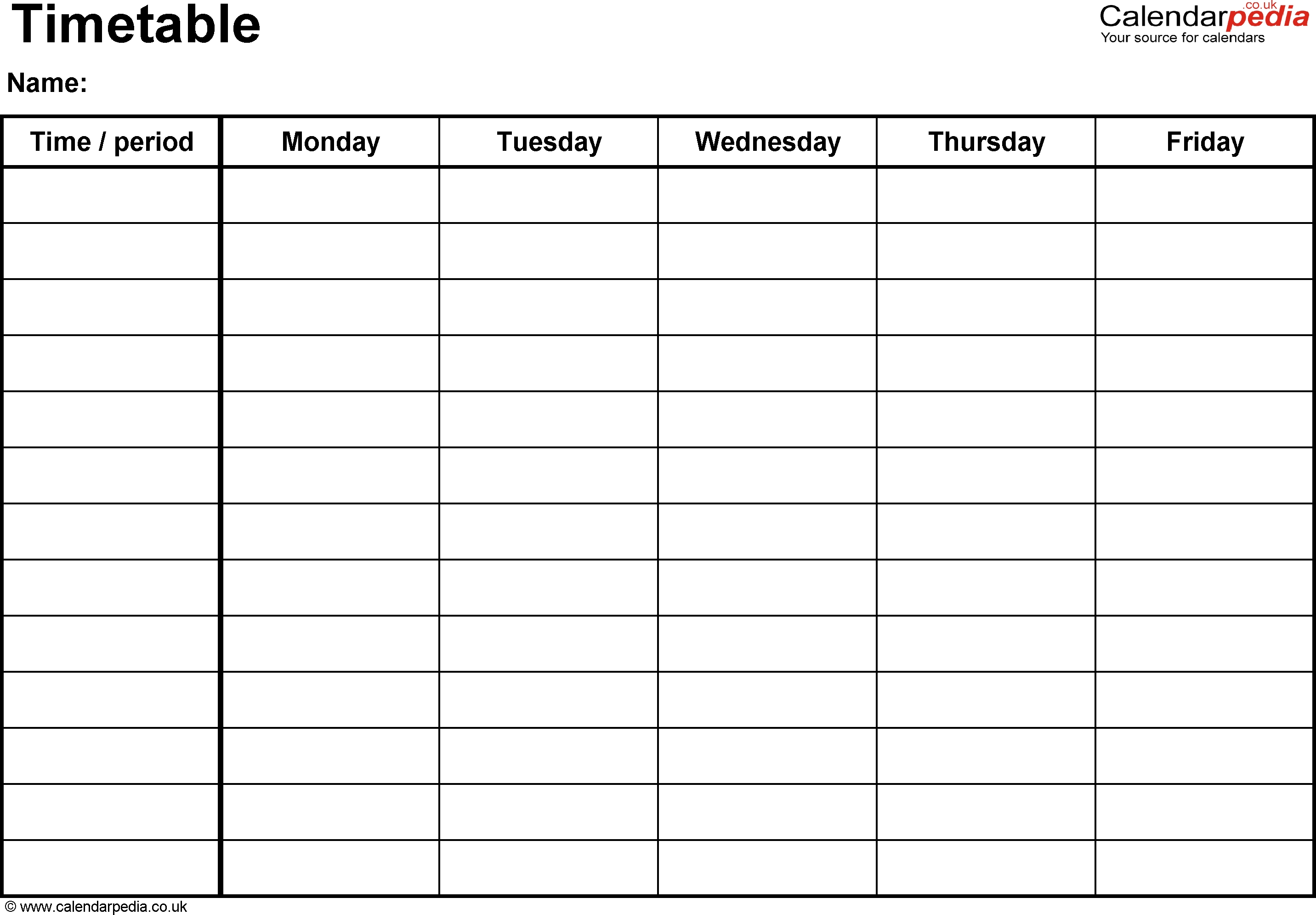 Timetables As Free Printable Templates For Microsoft Excel with regard to Template For Monday Through Friday School Schedule