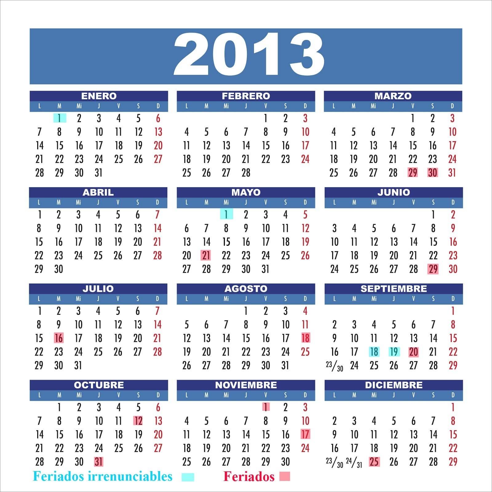 Todos Los Feriados 2014 - Semana Santa 2014: Calendario 2013 Chile regarding Calendarios 17 Feriados En Chile