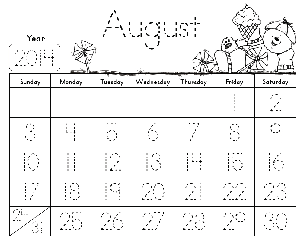 Traceable Monthly Calendars. These Are Free And So Kid Friendly for Free Behavior Calendars For Kindergarten