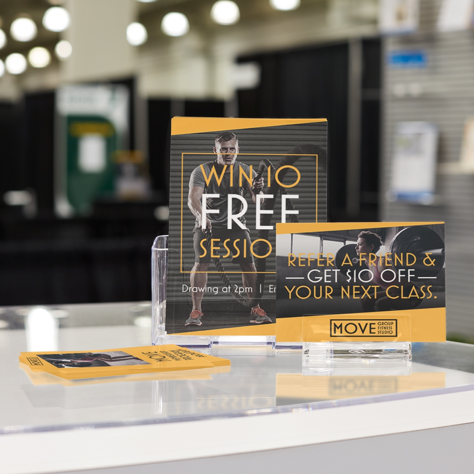 Trade Show Booth Must-Haves | Vistaprint regarding Acrylic Wall Displays Fitness Schedules