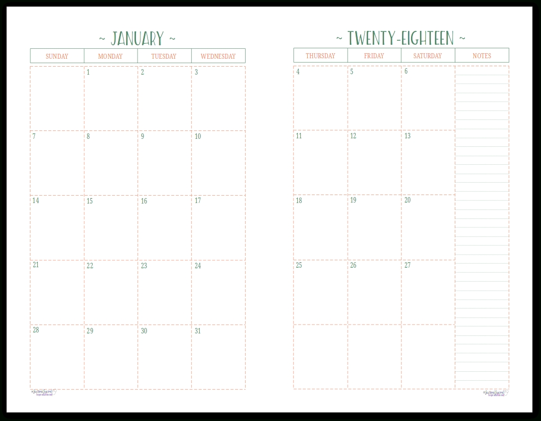 Two Page Per Month 2018 Dated Calendars Are Ready | Helpful Diy pertaining to Half Page Monthly Calendar Printable