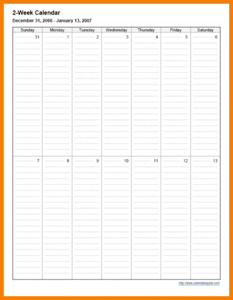 Two Week Calendar Template Schedule Printable Pdf Free | Smorad in Pictures Of A Two Week Calendar