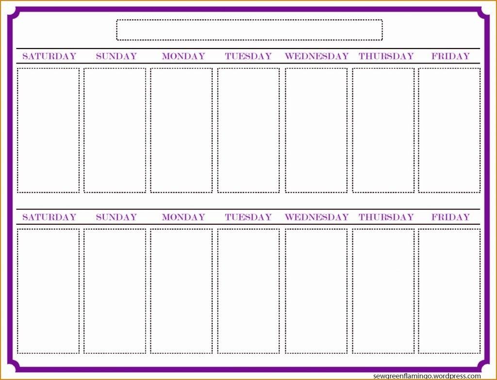 Two Week Schedule Template Weeks Calendar Blank Printable Weekly throughout Printable 2 Week Calendar Template
