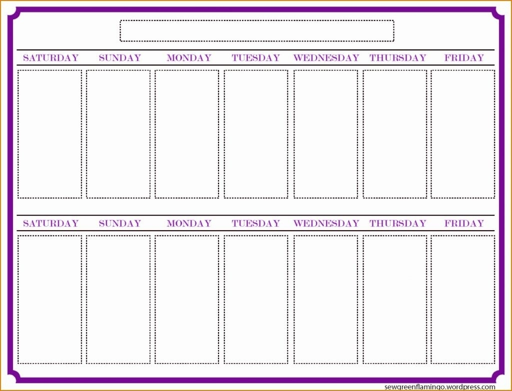 Two Weeks Calendar Template Week Blank Printable Weekly Timetable regarding 2 Week Blank Calendar Printable