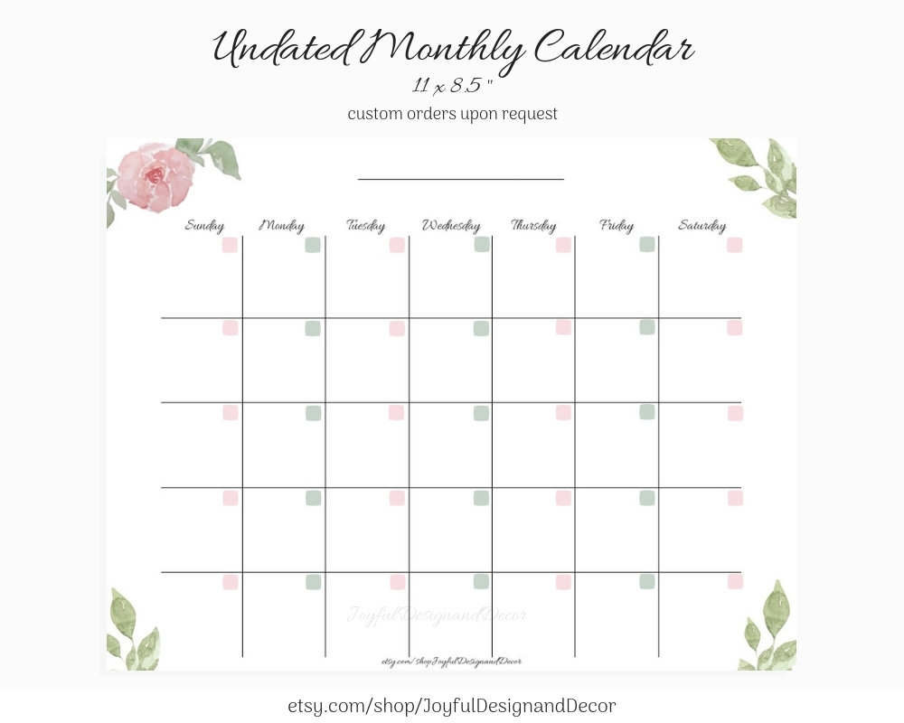 Undated Monthly Calendar Blank Calendar Printable Custom | Etsy with Printable Blank Monthly Calendar With Lines For Purse