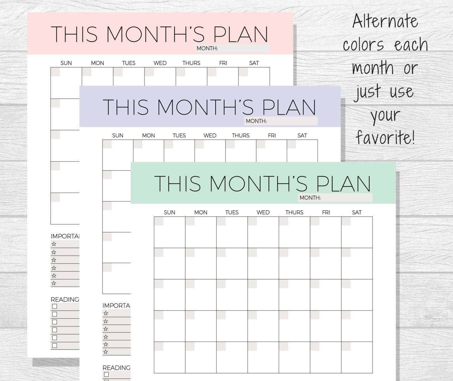 Undated Monthly Planner Printable Monthly Calendar – Printable in Undated Printable Monthly Calendar Free