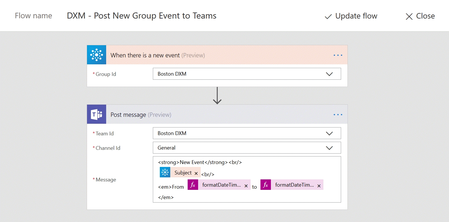 Update Your Team With Events From Your Outlook Gro - Power with Flow Template To Copy Dates From Sharepoint Calendars