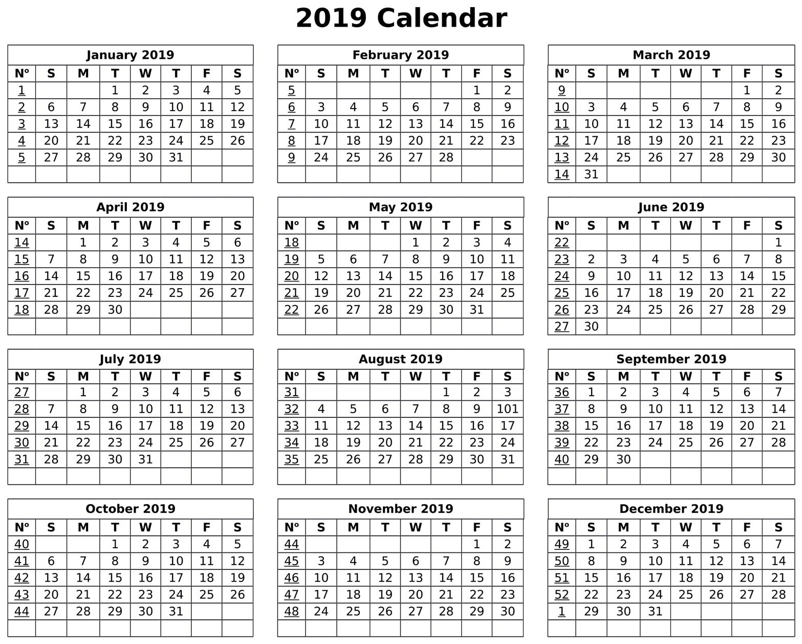 Us Fiscal Year 2019 Calendar With 2018 In Word Pdf Excel Format inside Fiscal Year Vs Calendar Year