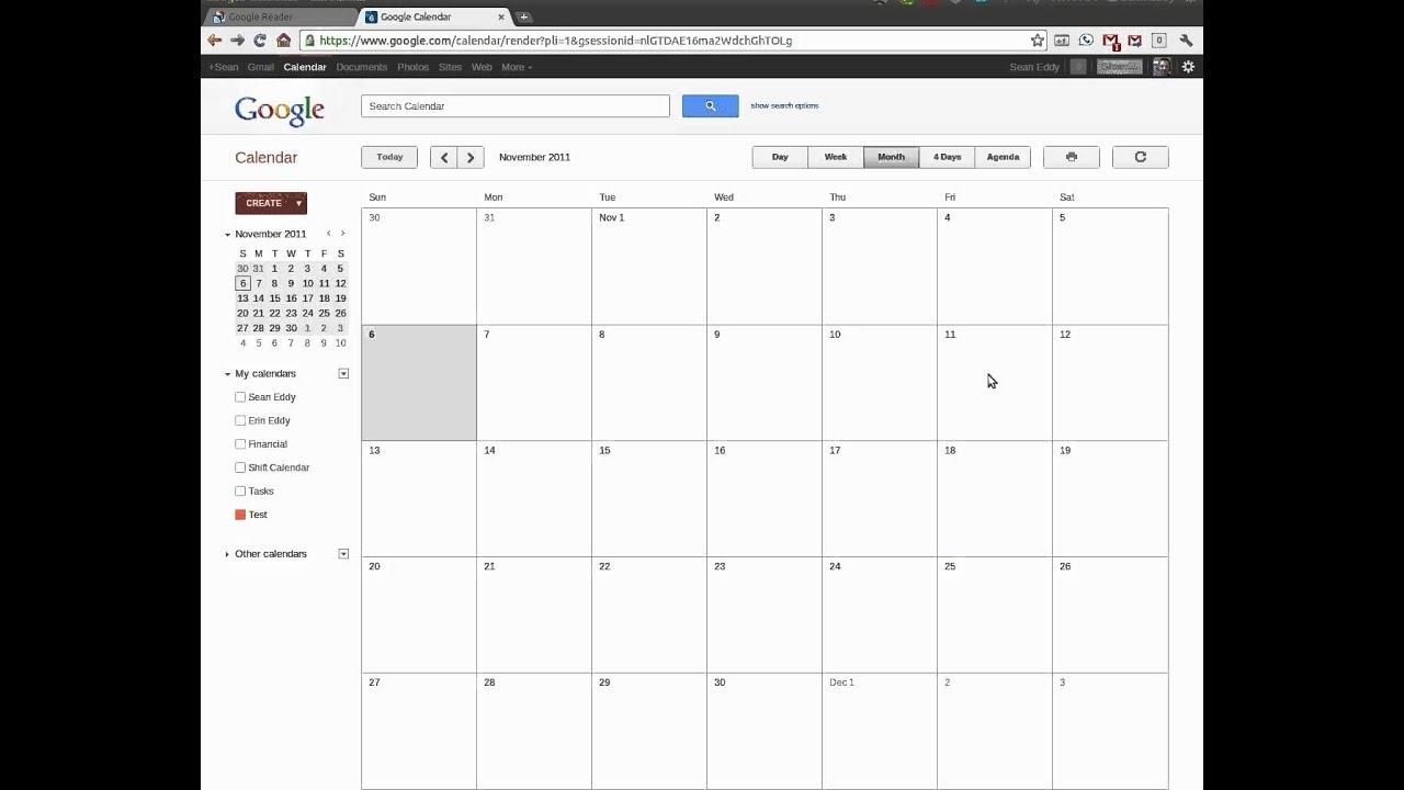 Using Google Calendars To Create A Shift Calendar - Youtube for 4 Week Blank Rotating Schedule Calendar