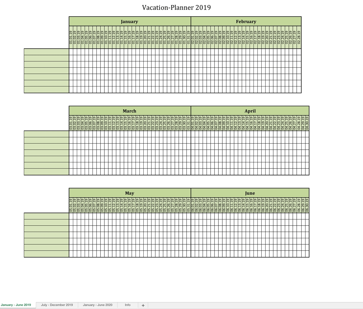 Vacation-Planner 2019 | Excel Templates For Every Purpose for Calendar For Employees Vacation List