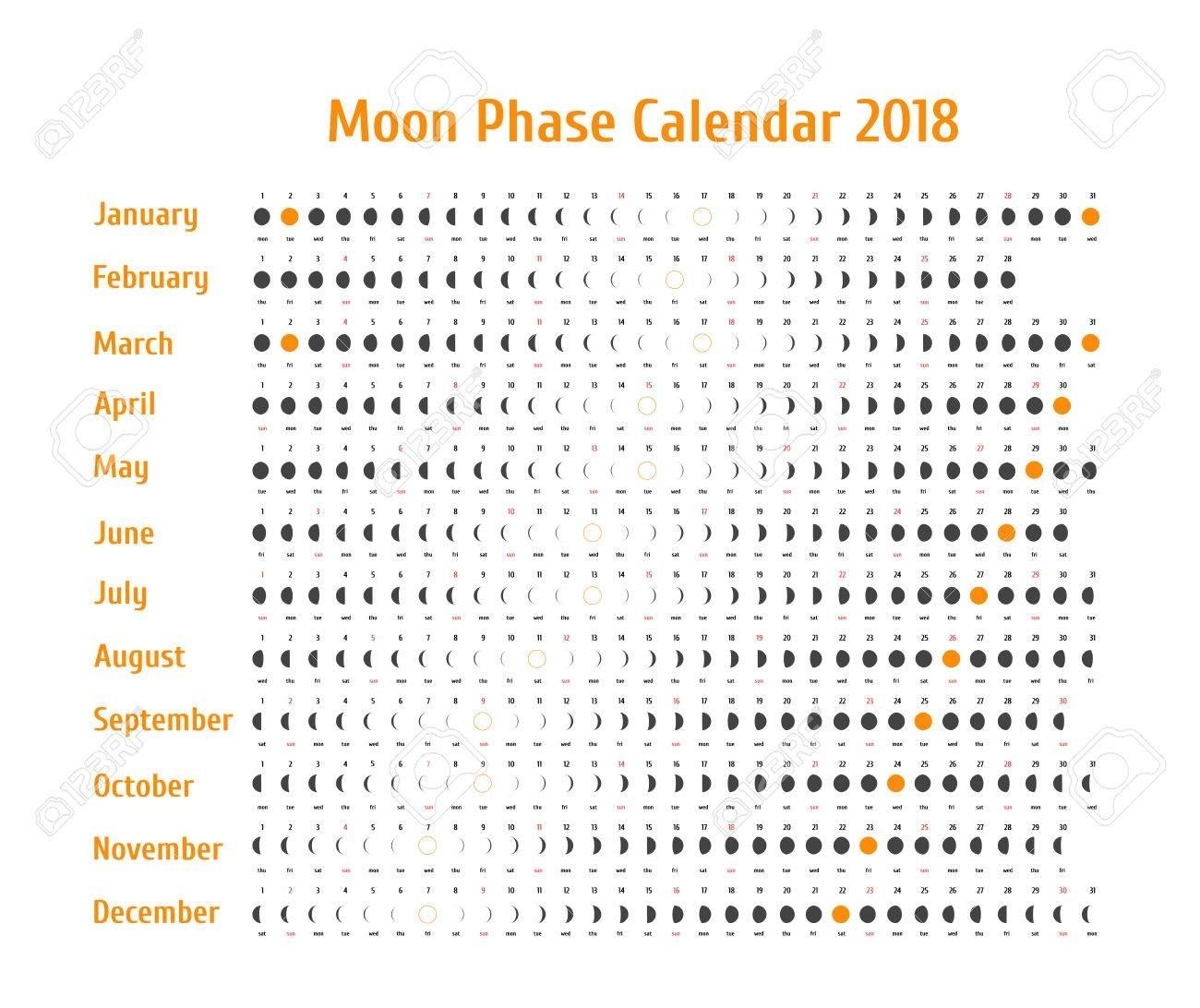 Vector Astrological Calendar For 2018. Moon Phase Calendar For within Phases Of The Moon Calendar