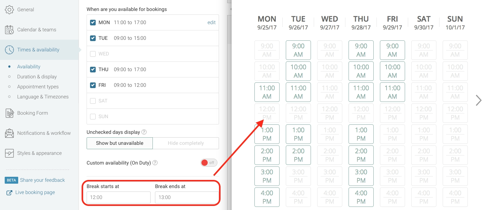 Walkthroughs: Setting Your Availability - Youcanbook Knowledge Base pertaining to Weekly Calendar With Quarter Time Slots