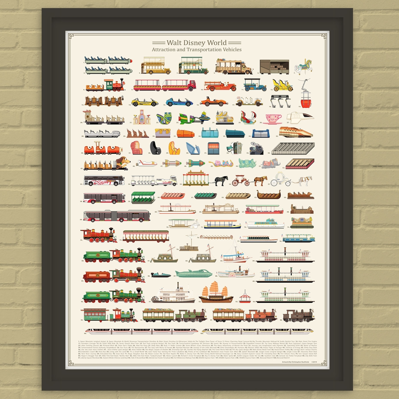 Walt Disney World Attraction And Transportation Vehicles Print | Etsy intended for 99 Days To Disney Printable Calendar
