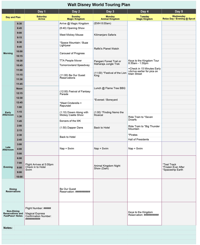 Walt Disney World Touring Plan Spreadsheet - Dream Plan Fly with Disney World Itinerary Template Blank