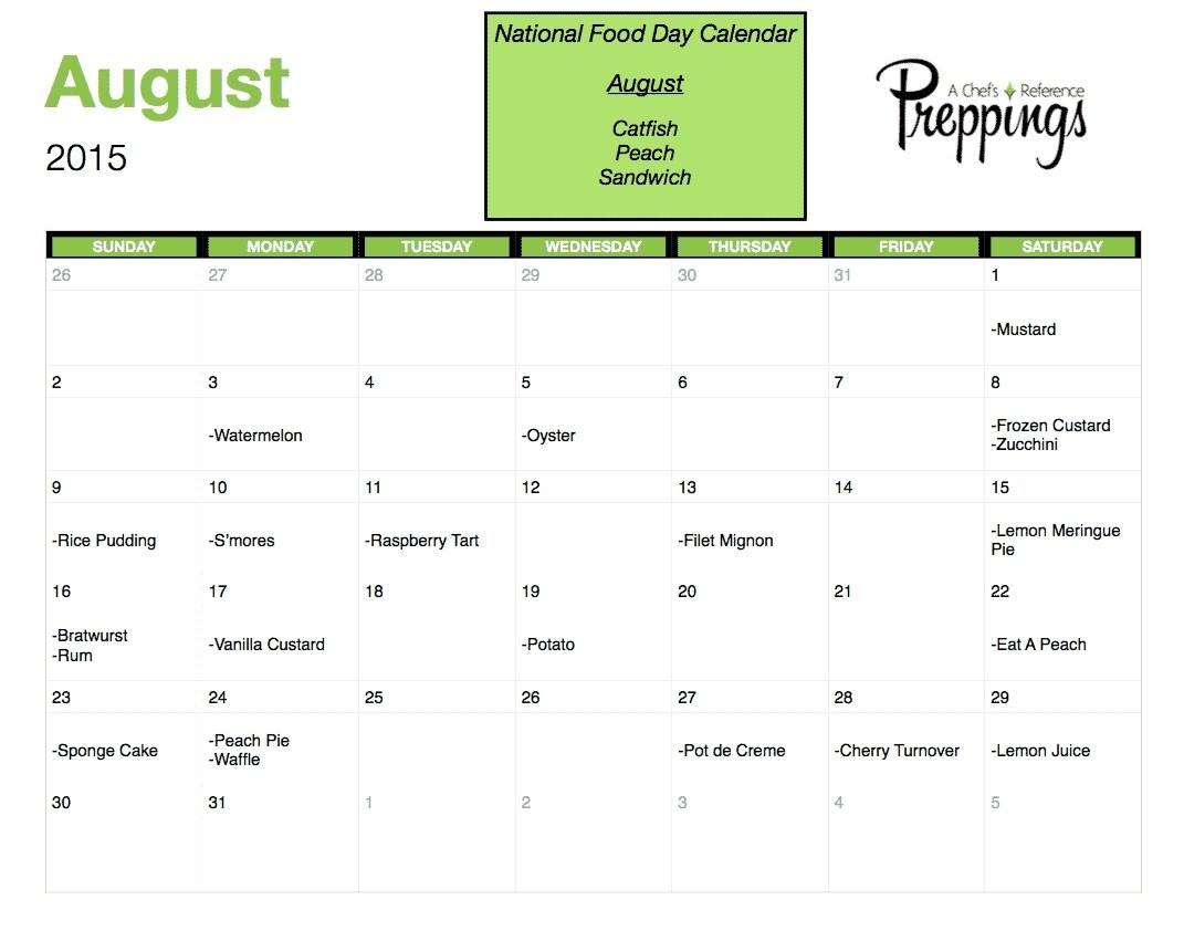 Week Calendar National Days regarding August National Food Day Calendar