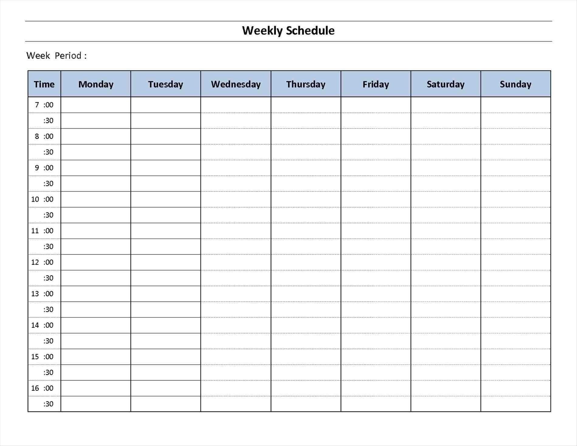 Week Calendar Template Printable Weekly Calendars Schedule | Smorad for 7 Day Calendar Template Fillable